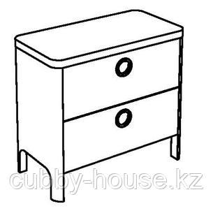 БУСУНГЕ Комод с 2 ящиками, светло-розовый, 80x75 см, фото 2