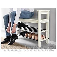 ХЕМНЭС Скамья с полкой для обуви, белый, 85x32 см, фото 3