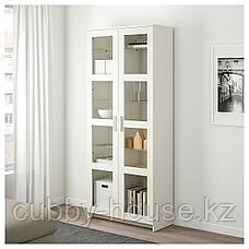 БРИМНЭС Шкаф-витрина, (белый, чёрный) 80x190 см, фото 3