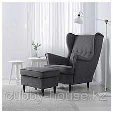 СТРАНДМОН Кресло с подголовником, Шифтебу темно-серый, фото 3