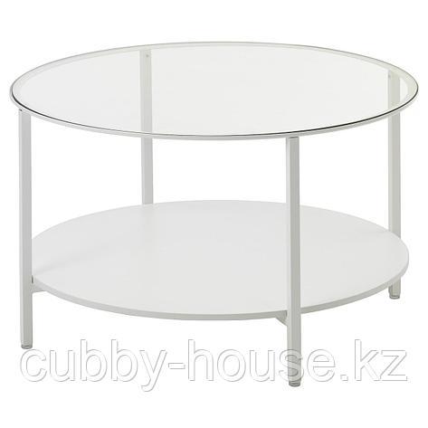 ВИТШЁ Журнальный стол, черно-коричневый, стекло, 75 см, фото 2