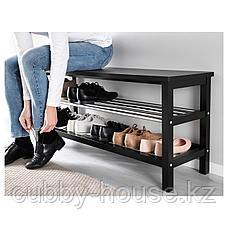ЧУСИГ Скамья с полкой для обуви, черный, 108x50 см, фото 3