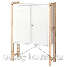 ИВАР Шкаф с дверями, сосна, белый, 89x30x124 см, фото 2