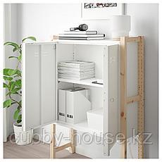 ИВАР Шкаф с дверями, сосна, белый, 89x30x124 см, фото 3