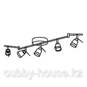 ТИДИГ Потолочный софит, 5ламп, никелированный, фото 2
