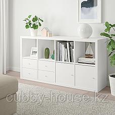 КАЛЛАКС Стеллаж с 4 вставками, белый, 77x147 см, фото 3