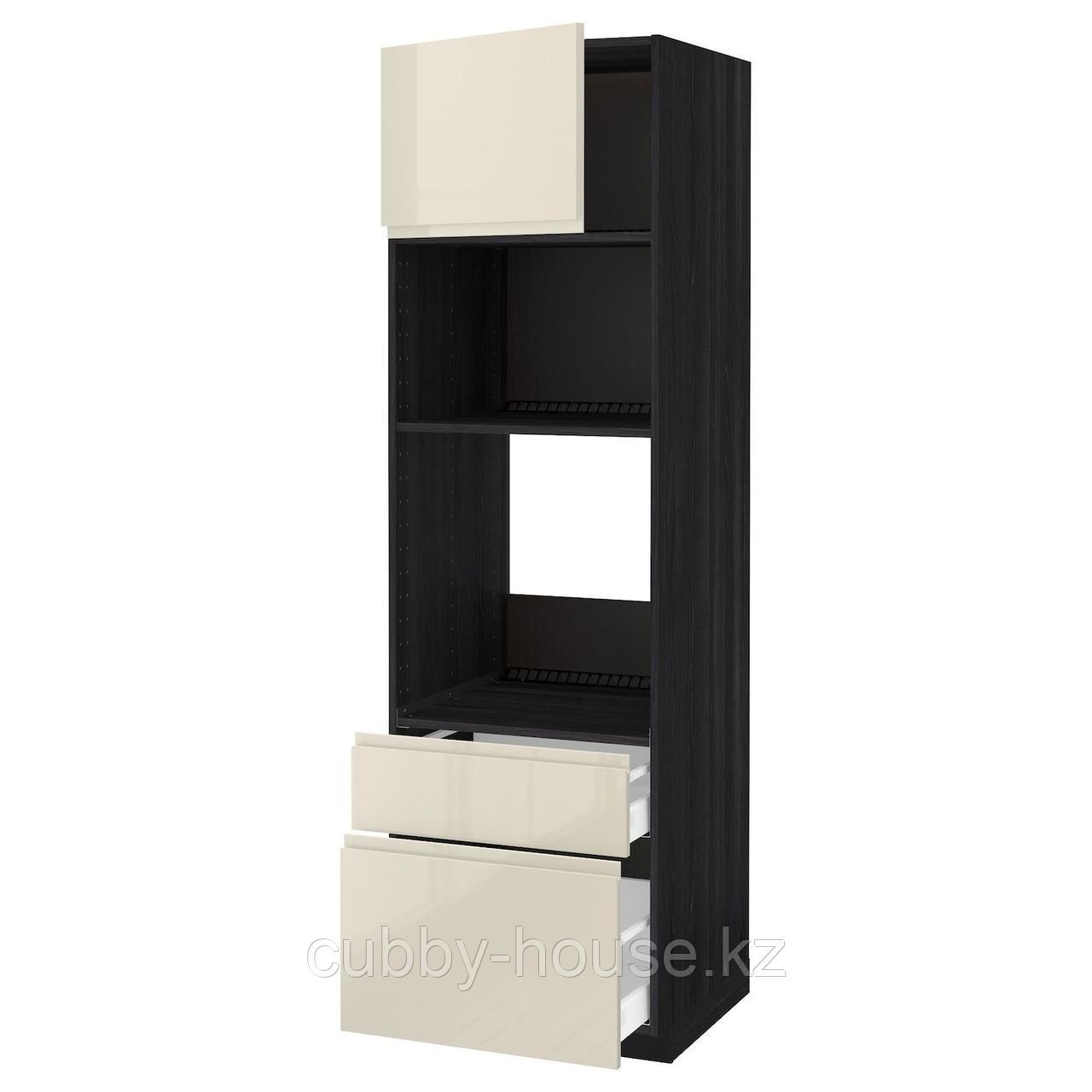 МЕТОД / МАКСИМЕРА Высок шкаф д/духовки/СВЧ/дверца/2ящ, белый, Будбин серый, 60x60x240 см