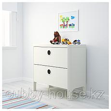 БУСУНГЕ Комод с 2 ящиками, белый, 80x75 см, фото 2