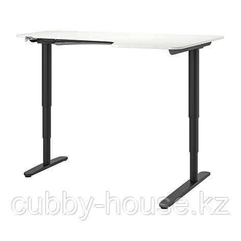 БЕКАНТ Углов письм стол прав/трансф, линолеум синий, белый, 160x110 см, фото 2