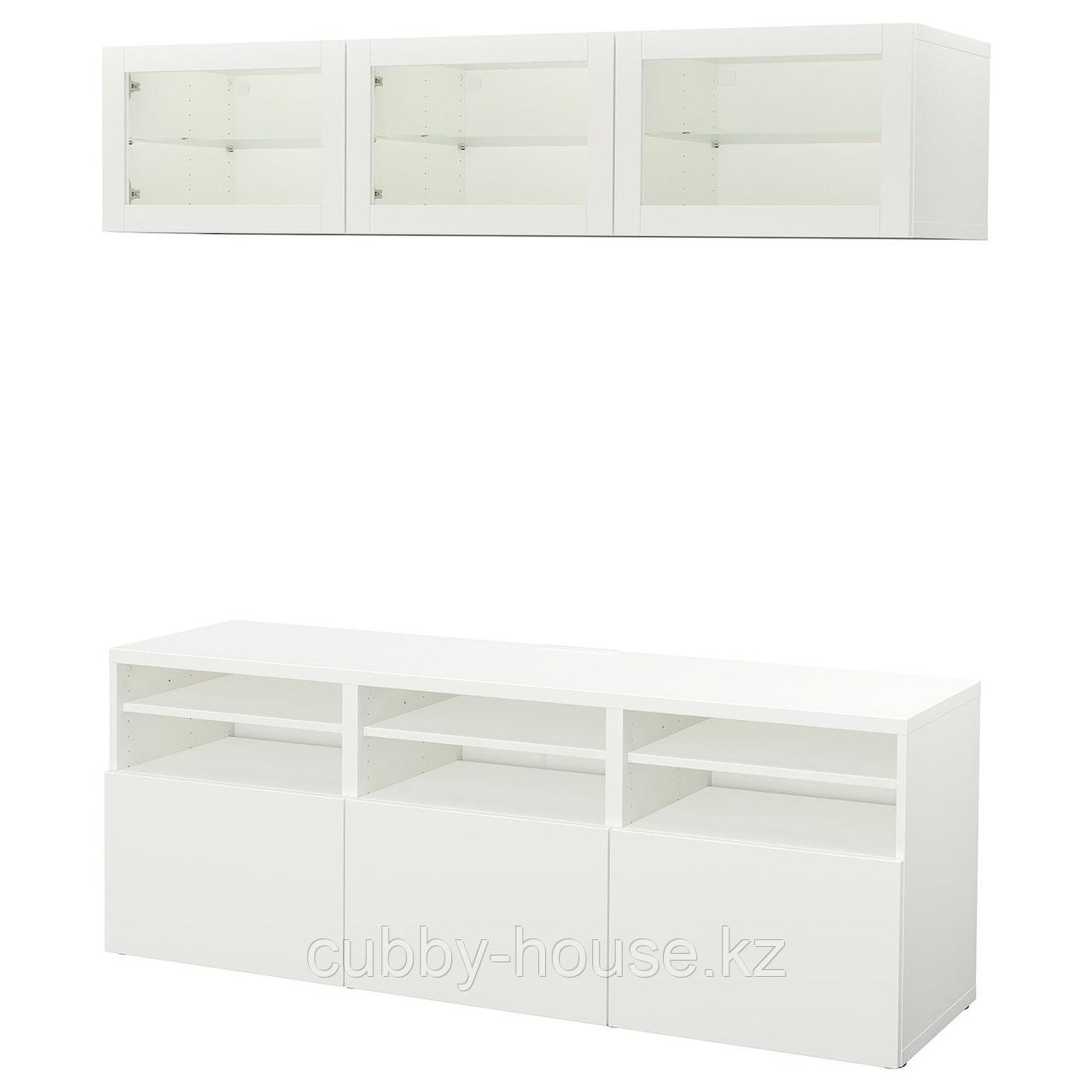 БЕСТО Шкаф для ТВ, комбин/стеклян дверцы, белый, Сельсвикен глянцевый/белый прозрачное стекло, 180x40x192 см