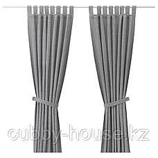 ЛЕНДА Гардины с прихватом, 1 пара, серый, 140x300 см, фото 2