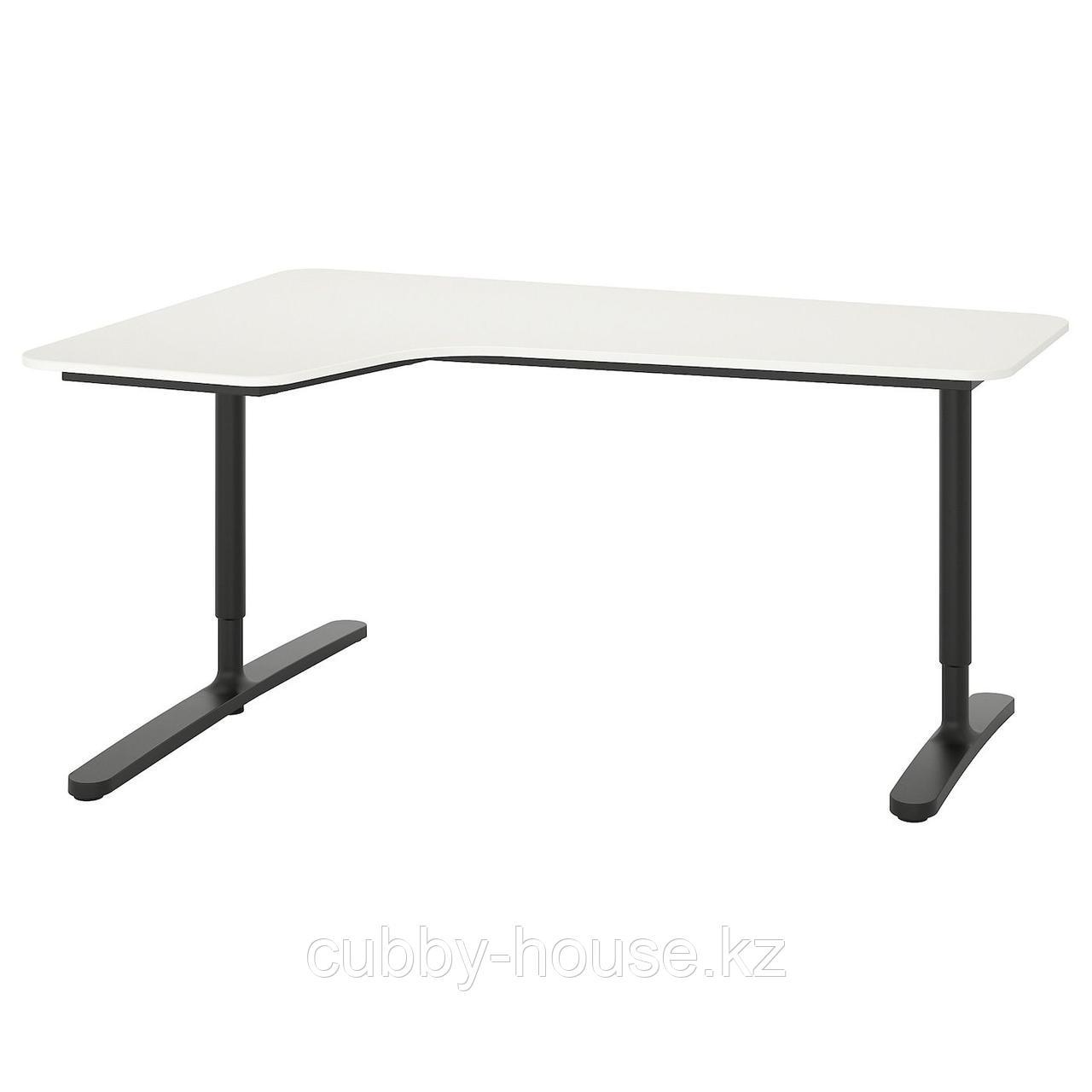 БЕКАНТ Углов письм стол левый, ясеневый шпон/черная морилка, белый, 160x110 см