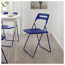 МЕЛЬТОРП / НИССЕ Стол и 2 складных стула, белый, темный сине-сиреневый, 75 см, фото 2