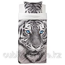 УРСКОГ Пододеяльник и 1 наволочка, тигр, серый, 150x200/50x70 см, фото 3