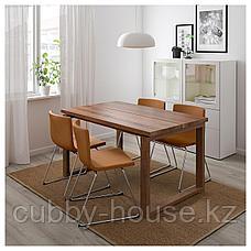 МОРБИЛОНГА / БЕРНГАРД Стол и 4 стула, дубовый шпон, Мьюк золотисто-коричневый, 140x85 см, фото 3