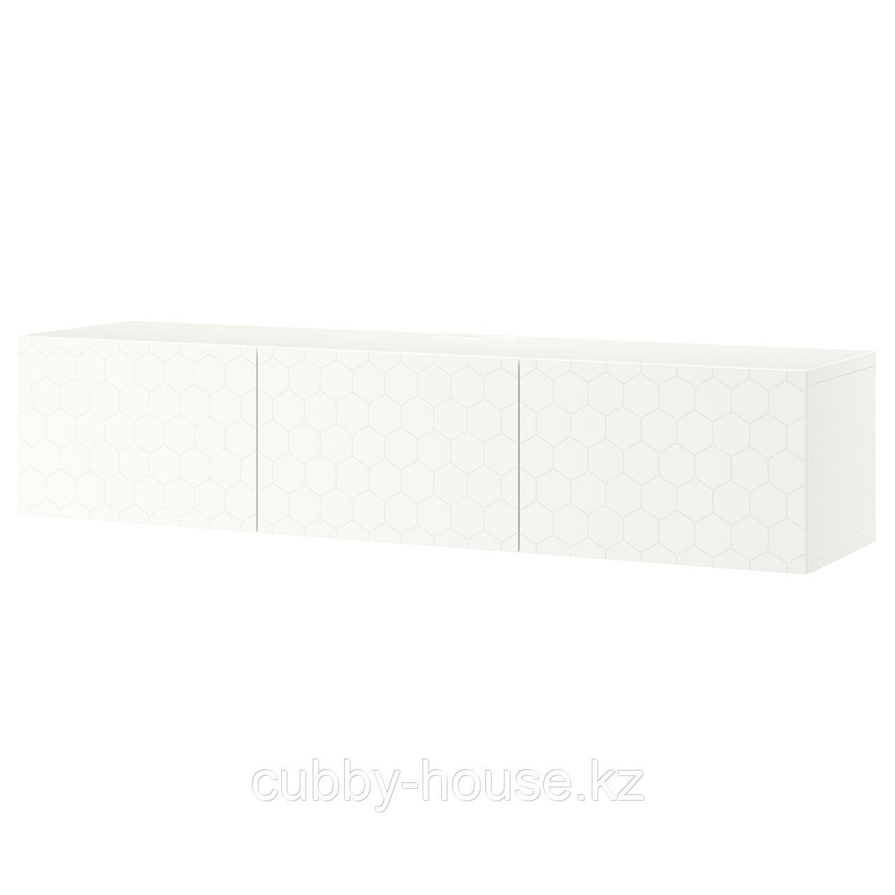 БЕСТО Тумба под ТВ, с дверцами, белый, Лаппвикен белый, 180x42x38 см