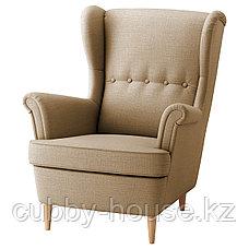 СТРАНДМОН Кресло с подголовником, Шифтебу бежевый, фото 2