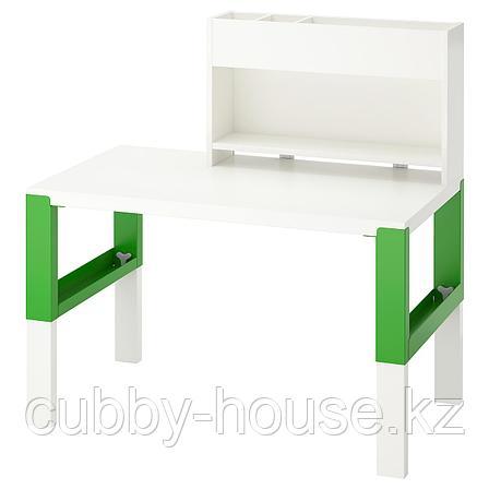 ПОЛЬ Стол с дополнительным модулем, белый, синий, 96x58 см, фото 2