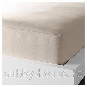ДВАЛА Простыня натяжная, бежевый, 90x200 см, фото 2