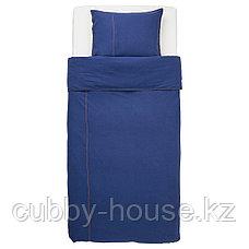 СОНГЛЭРКА Пододеяльник и 1 наволочка, темно-синий, 150x200/50x70 см, фото 2