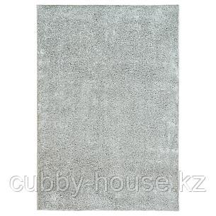ВОНГЕ Ковер, длинный ворс, светло-серый, 133x195 см, фото 2
