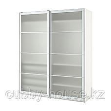ПАКС Гардероб, белый, Нюкирха закаленное стекло,орнамент «клетка», 200x66x236 см, фото 3
