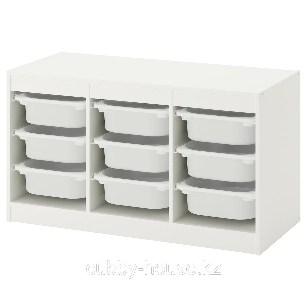 ТРУФАСТ Комбинация д/хранения+контейнеры, белый, розовый, 99x44x56 см