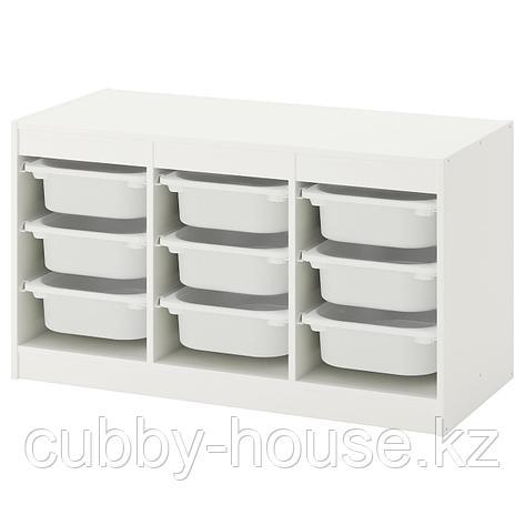 ТРУФАСТ Комбинация д/хранения+контейнеры, белый, розовый, 99x44x56 см, фото 2