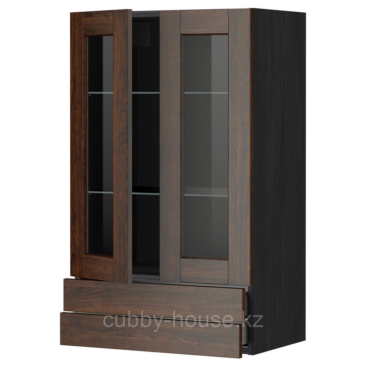 МЕТОД / МАКСИМЕРА Навесной шкаф/2 стек дв/2 ящика, белый, Будбин серый, 60x100 см
