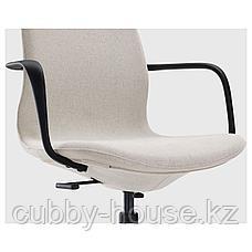 ЛОНГФЬЕЛЛЬ Рабочий стул с подлокотниками, Гуннаред бежевый, черный, фото 3