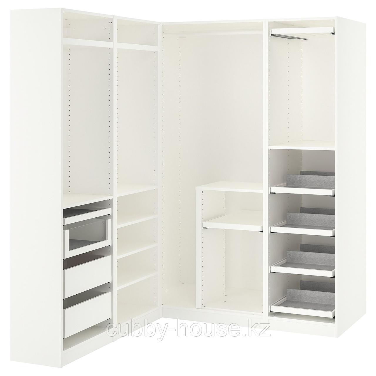 ПАКС Гардероб угловой, белый, 160/163x236 см