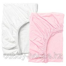 ЛЕН Простыня натяжн для кроватки, белый, розовый, 60x120 см, фото 2