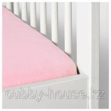 ЛЕН Простыня натяжн для кроватки, белый, розовый, 60x120 см, фото 3