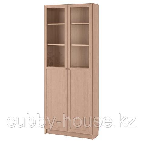 БИЛЛИ Стеллаж/панельные/стеклянные двери, белый, 80x30x202 см, фото 2