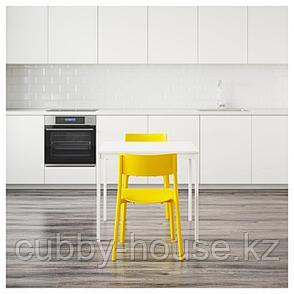 ВАНГСТА / ЯН-ИНГЕ Стол и 2 стула, белый, желтый, 80/120 см, фото 2