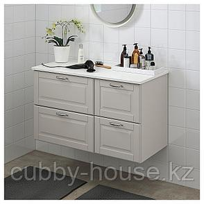 ГОДМОРГОН / ТОЛКЕН Шкаф для раковины с 4 ящ, Кашён светло-серый, под мрамор, 102x49x60 см, фото 2