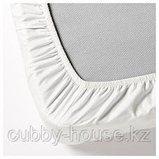 ДВАЛА Простыня натяжная, белый, 140x200 см, фото 3