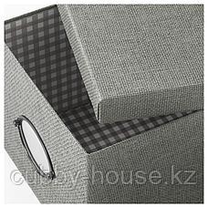 КВАРНВИК Коробка с крышкой, серый, 25x35x20 см, фото 3