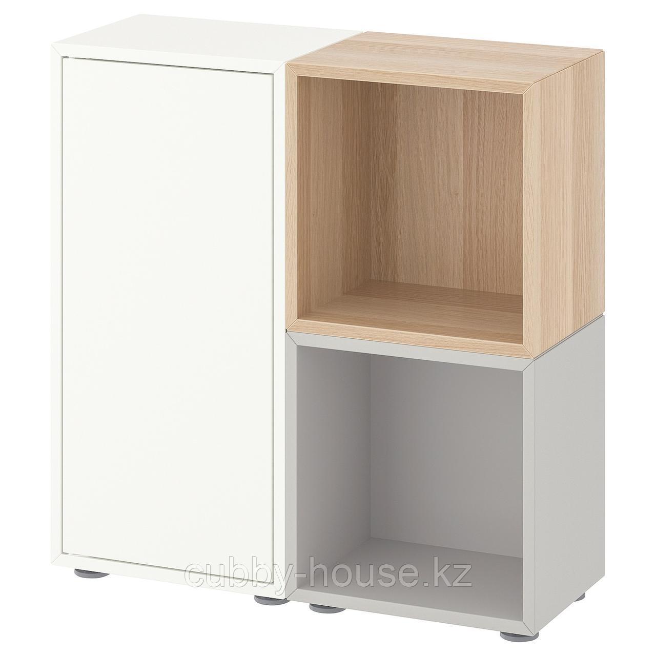 ЭКЕТ Комбинация шкафов с ножками, темно-серый, светло-серый золотисто-коричневый, 70x25x72 см