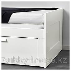 БРИМНЭС Каркас кровати-кушетки с 2 ящиками, белый, 80(160)x200 см, фото 3
