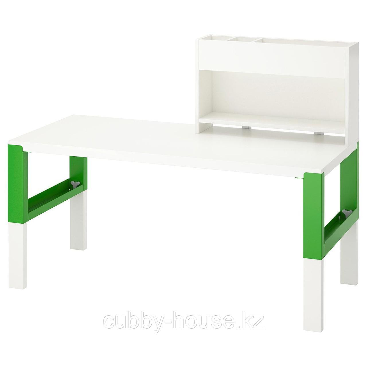 ПОЛЬ Стол с дополнительным модулем, белый, 128x58 см