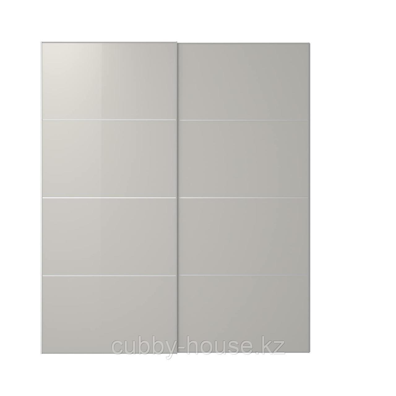 ХОККСУНД Пара раздвижных дверей, глянцевый светло-серый, 150x236 см