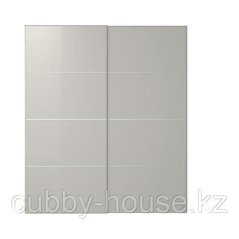 ХОККСУНД Пара раздвижных дверей, глянцевый светло-серый, 150x236 см, фото 2