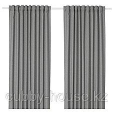 ХАННАЛЕНА Затемняющие гардины, 1 пара, серый, 145x300 см, фото 2