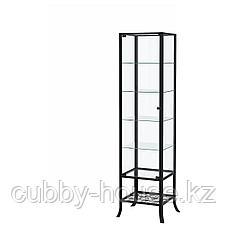КЛИНГСБУ Шкаф-витрина, черный, прозрачное стекло, 45x180 см, фото 2