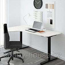 БЕКАНТ Столешница с вырезом, левая, дубовый шпон, беленый, 160x110 см, фото 3