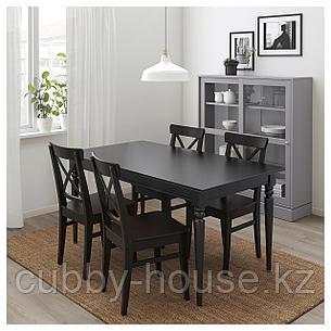 ИНГАТОРП / ИНГОЛЬФ Стол и 4 стула, черный, коричнево-чёрный, 155/215 см, фото 2