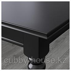ИНГАТОРП / ИНГОЛЬФ Стол и 4 стула, черный, коричнево-чёрный, 155/215 см, фото 3