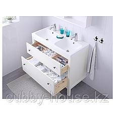 ХЕМНЭС / ОДЕНСВИК Шкаф для раковины с 2 ящ, белый, РУНШЕР смеситель, 103x49x89 см, фото 2