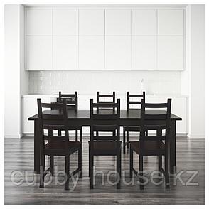 СТУРНЭС / КАУСТБИ Стол и 6 стульев, коричнево-чёрный, 201 см, фото 2
